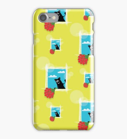 seamless pattern with friendly  cat with flowers iPhone Case/Skin