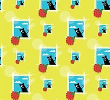 seamless pattern with friendly  cat with flowers by Irinavk