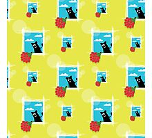 seamless pattern with friendly  cat with flowers Photographic Print