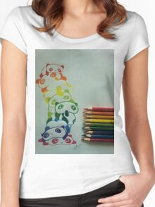 Colourful Pandas Women's Fitted Scoop T-Shirt