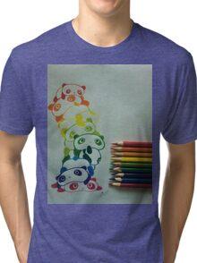 Colourful Pandas Tri-blend T-Shirt