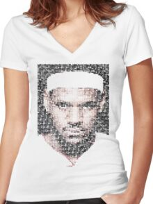 Lebron James Typo - Miami Heat NBA Basketball Women's Fitted V-Neck T-Shirt