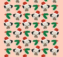 Pug misteltoe and holly cute gift for dog person pug owner by PetFriendly