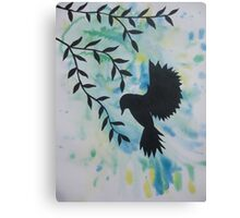 blue green yellow bird watercolor and acrylic modern art Canvas Print
