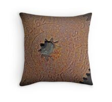 Rusty Winch Cog Throw Pillow