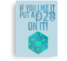 D20 Geeky Awesome Typography Tee & Print Canvas Print