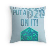 D20 Geeky Awesome Typography Tee & Print Throw Pillow