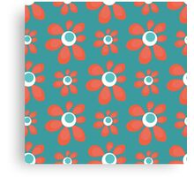blue seamless pattern with red flowers Canvas Print