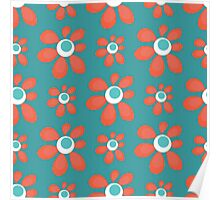 blue seamless pattern with red flowers Poster
