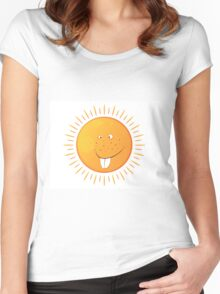 big isolated smiling sun with many freckles Women's Fitted Scoop T-Shirt