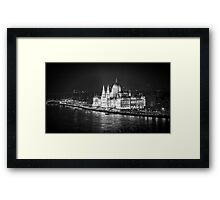 Hungarian Parliament Night BW Framed Print