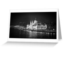 Hungarian Parliament Night BW Greeting Card