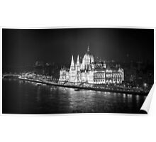 Hungarian Parliament Night BW Poster