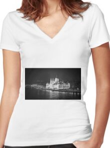 Hungarian Parliament Night BW Women's Fitted V-Neck T-Shirt