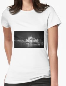 Hungarian Parliament Night BW Womens Fitted T-Shirt