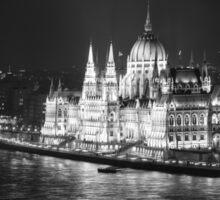 Hungarian Parliament Night BW Sticker