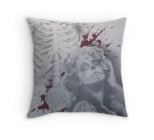 untitled #1 of 2 canvas dia de los muertos piece set Throw Pillow