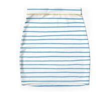 Blue French Paris Stripe Pattern with Gold Mini Skirt