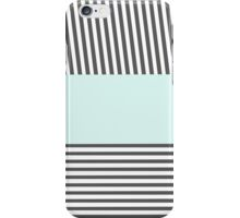 Chic gray white teal stylish stripes pattern iPhone Case/Skin
