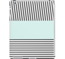 Chic gray white teal stylish stripes pattern iPad Case/Skin