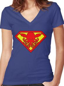 Super Cthulhu Women's Fitted V-Neck T-Shirt
