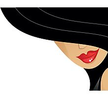 women with black hat and red lips Photographic Print