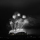 Festival Fireworks at Edinburgh Castle in B&W by Sue Fallon Photography