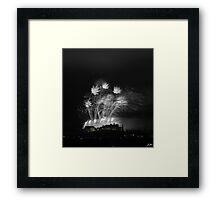 Festival Fireworks at Edinburgh Castle in B&W Framed Print