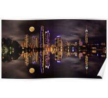 Moonrise over Surfers Paradise Poster