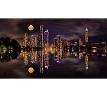 Moonrise over Surfers Paradise Photographic Print