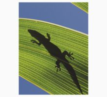 Silhouette Of A Phelsuma Day Gecko On A Palm Leaf. One Piece - Long Sleeve