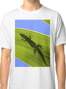 Silhouette Of A Phelsuma Day Gecko On A Palm Leaf. Classic T-Shirt