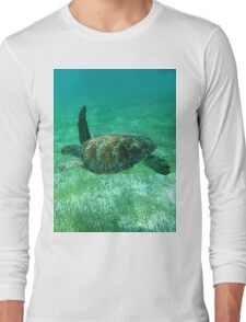 Green Turtle Swimming In The Tropical Caribbean Ocean. Long Sleeve T-Shirt