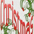 Merry Christmas With Stylized Holly Greeting Card by taiche