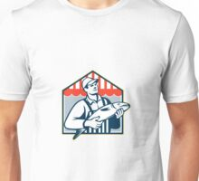 Fishmonger Holding Fish Retro Unisex T-Shirt