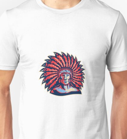 Native American Indian Chief Warrior Retro Unisex T-Shirt