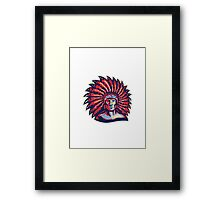 Native American Indian Chief Warrior Retro Framed Print