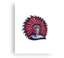 Native American Indian Chief Warrior Retro Canvas Print
