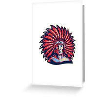 Native American Indian Chief Warrior Retro Greeting Card