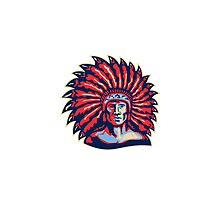 Native American Indian Chief Warrior Retro Photographic Print
