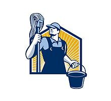 Janitor Cleaner Holding Mop Bucket Retro by patrimonio