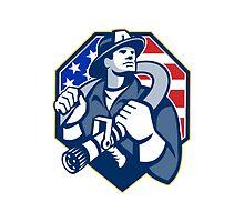 American Fireman Fire-fighter Fire Hose Retro by patrimonio