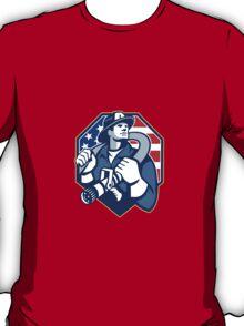 American Fireman Fire-fighter Fire Hose Retro T-Shirt