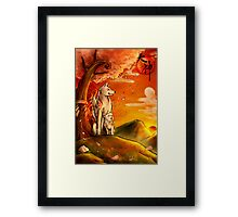 Okami wolf and pup Framed Print