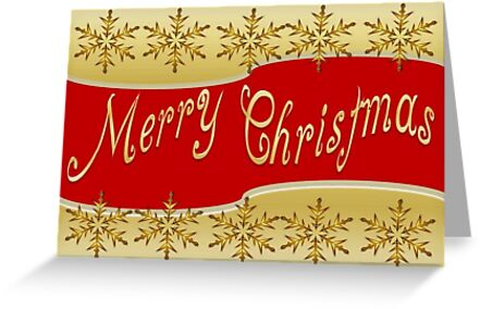 Red Merry Christmas Banner On Gold With Snowflakes by taiche