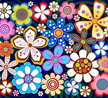 Pop Art Flowers on Blue by Catherina Amor