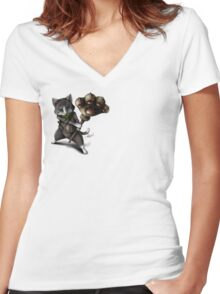 Monster Hunter : Merarou cat Women's Fitted V-Neck T-Shirt
