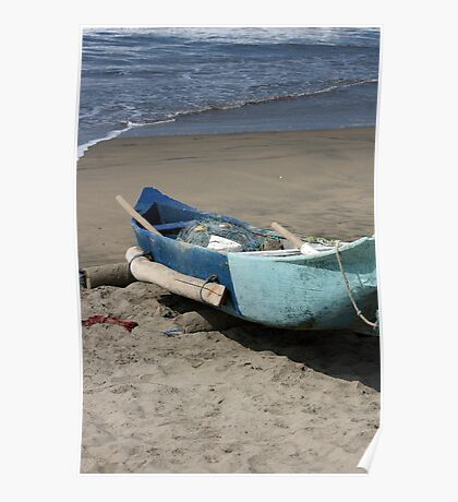 Blue Fishing Boat on the Beach Poster