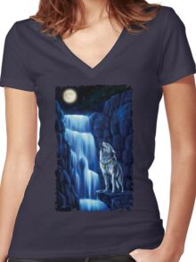 Fall wolf under the moon Women's Fitted V-Neck T-Shirt