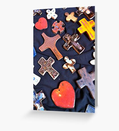 Hearts and Crosses Greeting Card